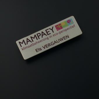 Naambadge in zilver